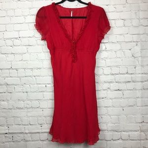 Free People Silk Red Ruffle Dress